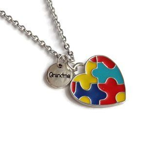 Autism Awareness Puzzle Grandma Necklace Heart